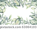Hand drawn watercolor tropical flower background. Exotic palm leaves, jungle tree, brazil tropic botanical decoration botany elements and flowers. Perfect for fabric design. 63064103