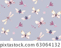 Watercolor colorful butterflies, butterfly, bugs seamless pattern on white background. blue, yellow, pink and red butterfly spring illustration. 63064132