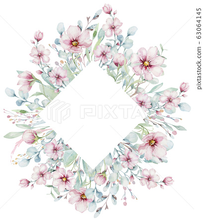 wreath of blossom pink cherry flowers in watercolor style with white background. Set of summer blooming japanese sakura branch decoration 63064145