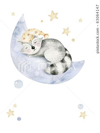 Cute dreaming cartoon cartoon animal hand drawn watercolor illustration. Sleeping charecher kids nursery wear fashion design, baby shower invitation card. 63064147