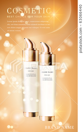 3D transparent cosmetic bottle container with 63066440