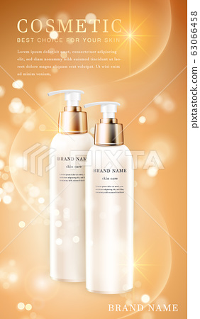 3D transparent cosmetic bottle container with 63066458