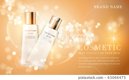 3D transparent cosmetic tube container with shiny 63066473