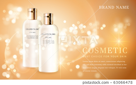 3D transparent cosmetic bottle container with 63066478