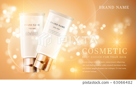 3D transparent cosmetic tube container with shiny 63066482