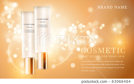 3D transparent cosmetic tube container with shiny 63066484