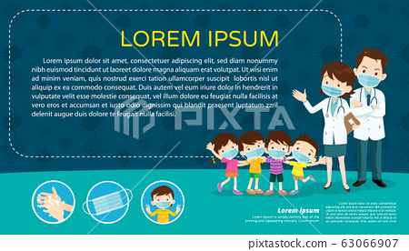 children and doctor wear a medical face mask for 63066907