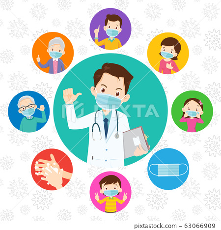 family and Doctor wearing protective Medical mask 63066909