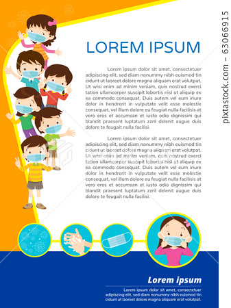 children wear a medical face mask for poster2 63066915