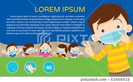 children wear a medical face mask with copy space 63066918