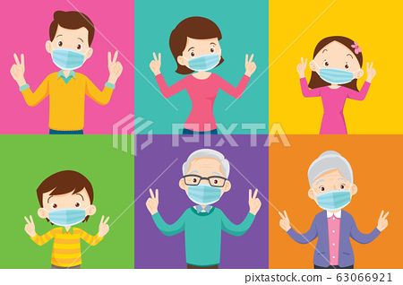 family and grandparent wearing protective Medical 63066921