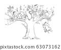 큰 나무와 자녀 3 명, 나무 그네, 선묘 63073162