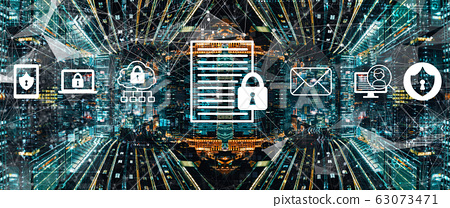 Data protection concept with abstract night cityscape 63073471