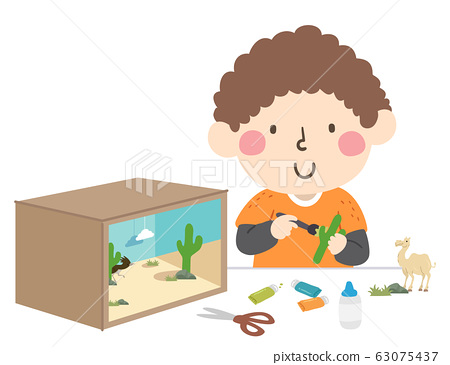 Boy Make Desert Ecosystem Diorama Illustration 63075437