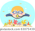 Kid Boy Swim Coral Reef Illustration 63075439