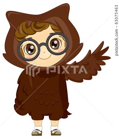Kid Girl Woodland Animal Owl Costume Illustration 63075463
