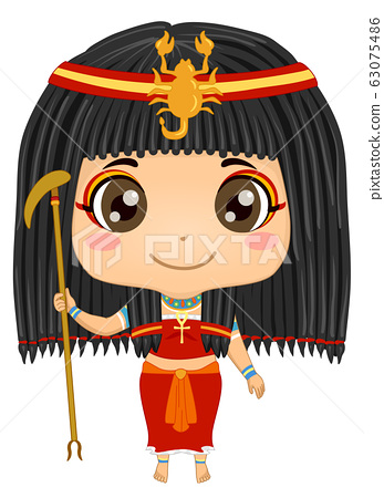 Kid Girl Egyptian God Serket Costume Illustration 63075486