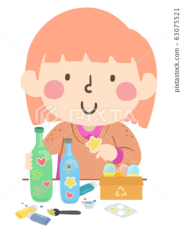 Kid Decorate Recycle Craft Illustration 63075521