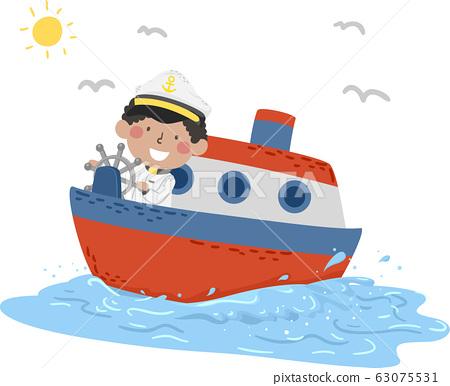Kid Boy Travel Captain Ferry Illustration 63075531