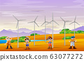 A group of male farmers in windmill tower landscape 63077272