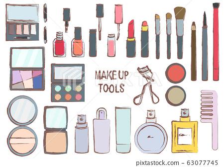 化妝工具時尚設置畫筆觸摸插圖 63077745