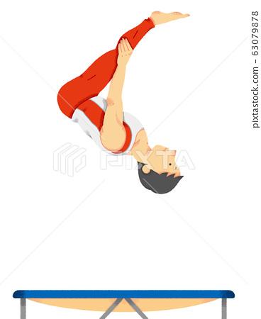 蹦床選手的插圖(無縫) 63079878