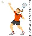羽毛球运动员图(无缝) 63079880