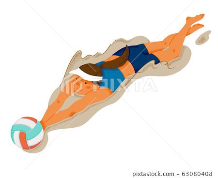 沙灘排球運動員圖(無縫) 63080408