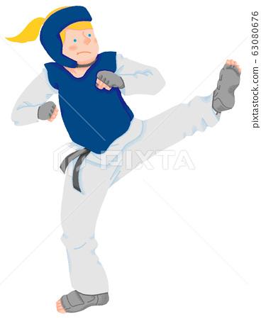 跆拳道選手圖(無縫) 63080676