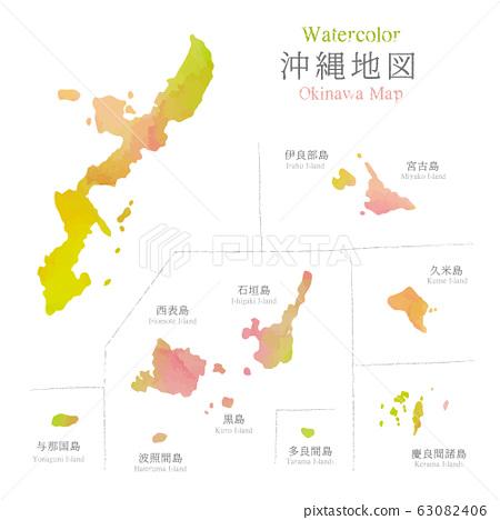 水彩風格沖繩地圖 63082406