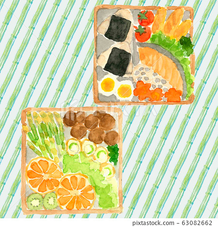 Lunch box, lunch, vacation, hand-painted, watercolor, rice ball, salmon, boiled egg, carrot, lettuce, broccoli, lotus root 63082662