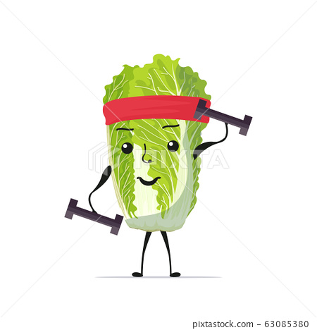 cute fresh green chinese cabbage character exercising with dumbbells tasty mascot vegetable personage healthy food concept 63085380