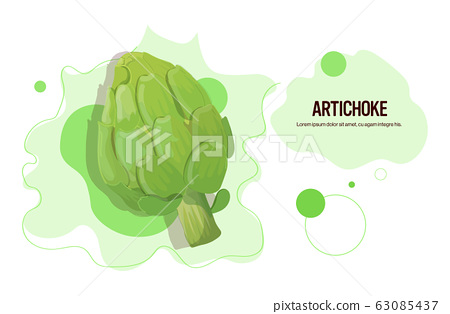 fresh green artichoke sticker tasty vegetable icon healthy food concept horizontal copy space 63085437