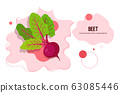 fresh beet sticker tasty vegetable icon healthy food concept horizontal copy space 63085446