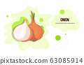 fresh onion sticker tasty vegetable icon healthy food concept horizontal copy space 63085914