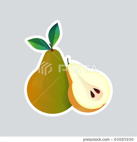 fresh juicy pear sticker tasty ripe fruit icon healthy food concept 63085930