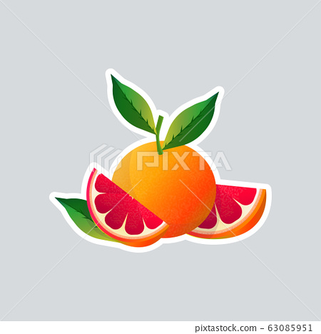 fresh juicy grapefruit icon tasty ripe fruit sticker healthy food concept 63085951