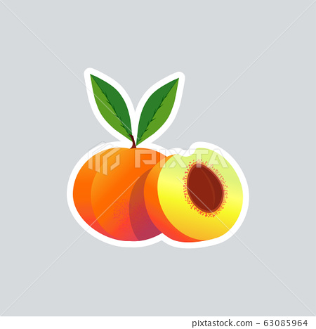 fresh juicy peach icon tasty ripe fruit sticker healthy food concept 63085964