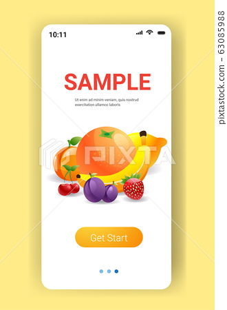 various fresh juicy fruits composition healthy natural food concept smartphone screen mobile app copy space vertical 63085988