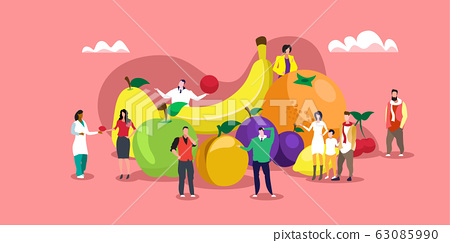 people eating various fresh juicy fruits healthy nutrition natural food concept horizontal full length 63085990