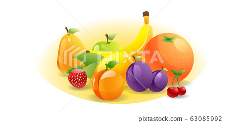 various fresh juicy fruits composition healthy natural food concept horizontal 63085992