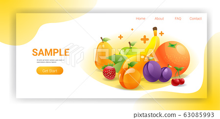 various fresh juicy fruits composition healthy natural food concept horizontal copy space 63085993