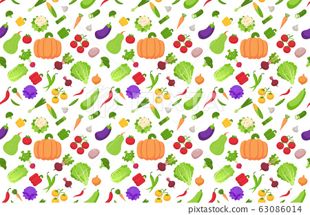 set fresh vegetables collection seamless pattern healthy food concept horizontal 63086014