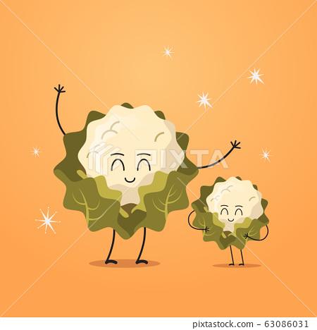 cute fresh cauliflower characters tasty mascot vegetables healthy food concept 63086031