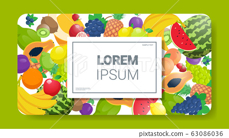 various fresh juicy fruits composition healthy natural food concept horizontal copy space 63086036
