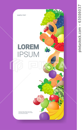 various fresh juicy fruits composition healthy natural food concept smartphone screen mobile app copy space vertical 63086037