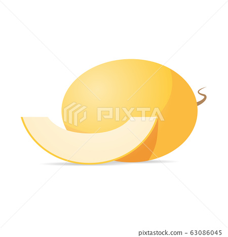 fresh juicy melon icon tasty ripe fruit isolated on white background healthy food concept 63086045