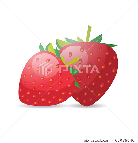 fresh juicy strawberry icon tasty ripe fruit isolated on white background healthy food concept 63086046