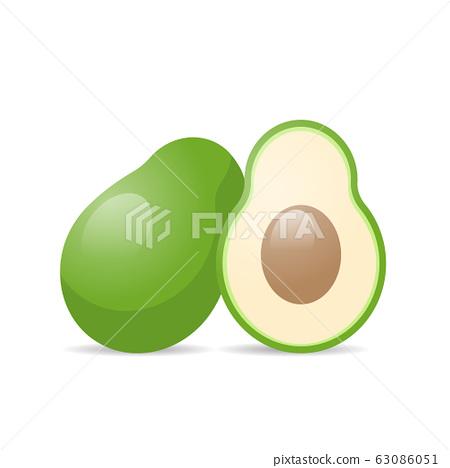 fresh juicy avocado icon tasty ripe fruit isolated on white background healthy food concept 63086051