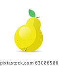 fresh juicy yellow pear icon tasty ripe fruit isolated on white background healthy food concept 63086586